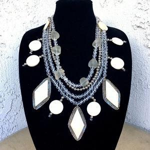Vintage Bone Glass Crystal Ethnic Tribal Necklace